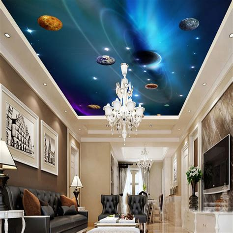 custom  ceiling wallpaper mural space solar system