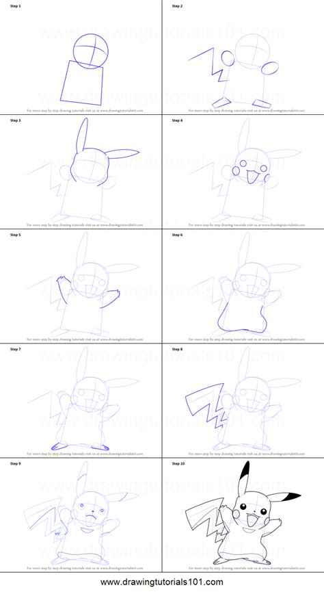 Drawing Step By Step by How To Draw Pikachu From Printable Step By Step