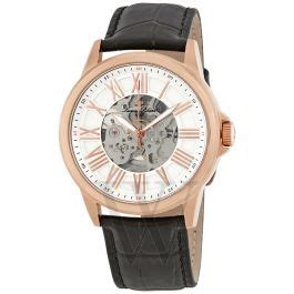 calypso automatic black gen. leather silver tone dial rose