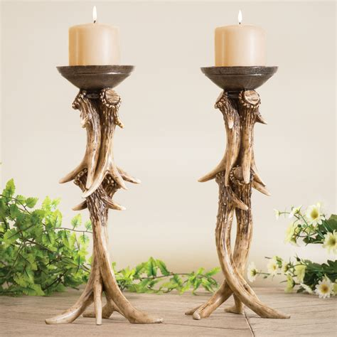 Candle In Candle Holder by Antler Pillar Candle Holder