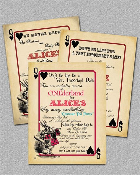 alice  wonderland invitations inviting designs  angela