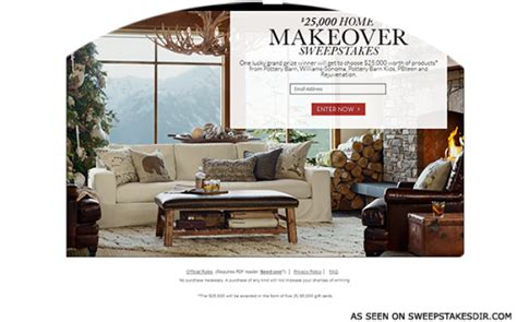 pottery barn 25k home makeover sweepstakes sweepstakes