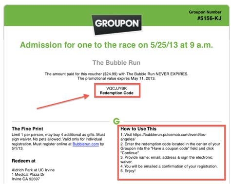 How To Redeem Groupon Gift Card - how to redeem groupon voucher seattle rock n roll marathon