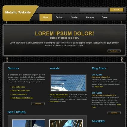 free website templates html css javascript metallic free website templates in css html js format