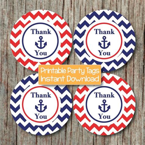 printable anchor gift tags items similar to nautical baby shower decoration thank you