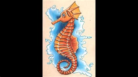 drawings with color seahorse drawing with colored pencils