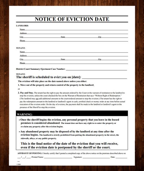 eviction notice template free free printable eviction notice template 13 sle