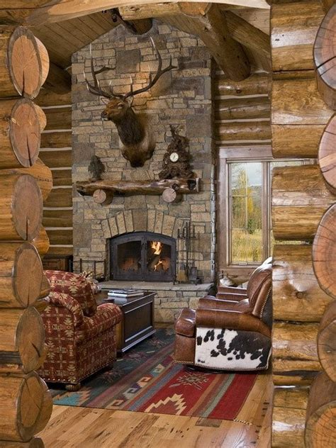 log home great room house remodeling ideas
