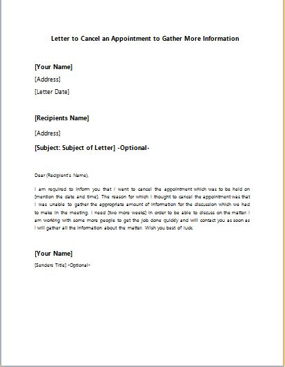 cancellation of appointment letter sle appointment cancellation letter format 28 images