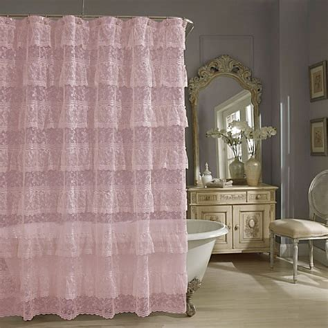 lace curtains bed bath and beyond buy priscilla lace shower curtain in pink from bed bath
