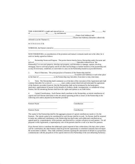 6 simple business partnership agreements sle templates