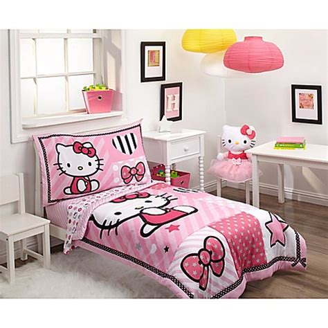 hello kitty 4 piece bedroom in a box hello kitty 174 4 piece toddler bedding set buybuy baby