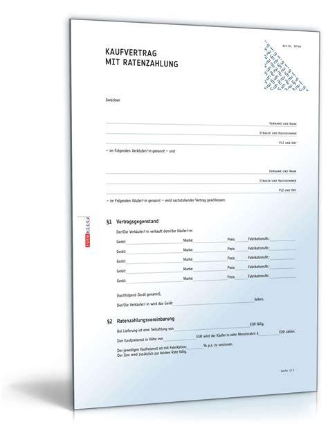 Auto Auf Ratenzahlung by Kaufvertrag Mit Ratenzahlung Vorlage Zum