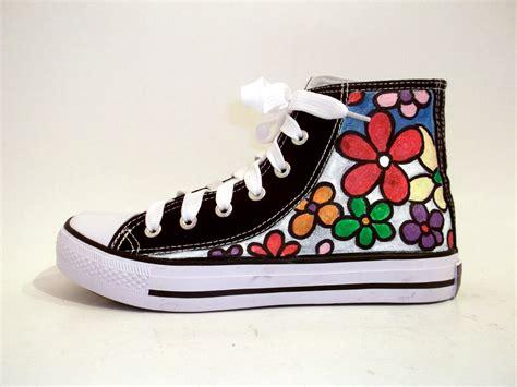 paint sneakers painted sneakers big flowers on luulla