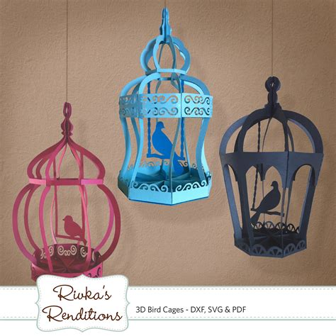 3d svg 3d bird cages digital cut file and template dxf svg and pdf