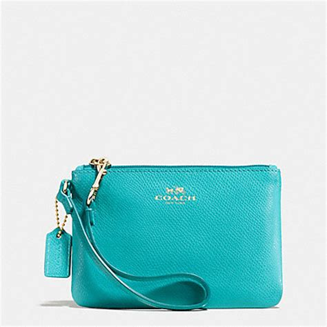 light blue coach wallet coach f52850 small wristlet in crossgrain leather