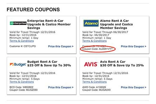 rent a car coupons codes