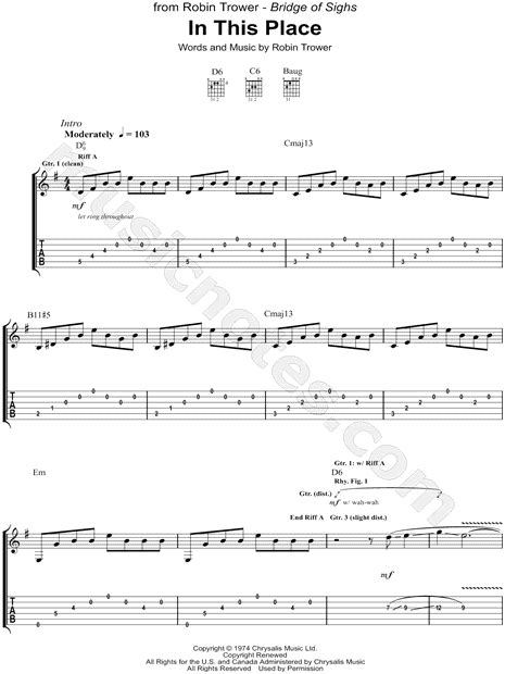 The Place Guitar Tab Robin Trower Quot In This Place Quot Guitar Tab In E Minor Print Sku Mn0122179
