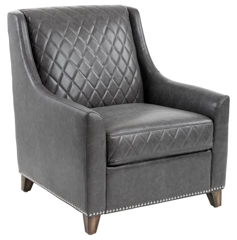 Grey Leather Armchair by Bergamo Ash Gray Bonded Leather Armchair From Sunpan
