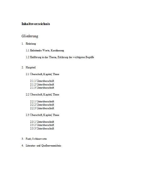 inhaltsverzeichnis vorlage vorlage formularecom