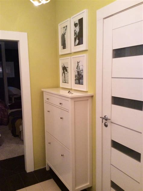 White HEMNES Shoe cabinet in the hallway olive