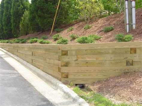 Landscape Timber Wall Design Landscape Timber Retaining Wall Ideas Home Design Ideas