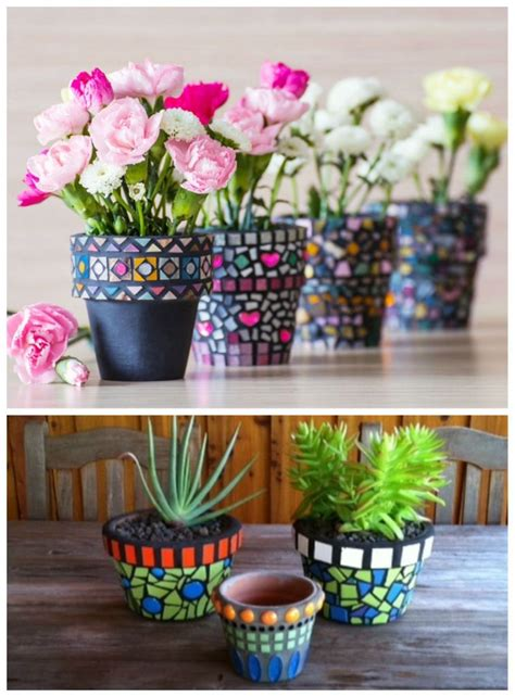 very cool and funky bright coloured mosaic planter with craftionary