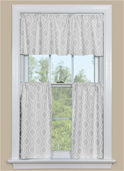 retro kitchen curtains in grey ogee design