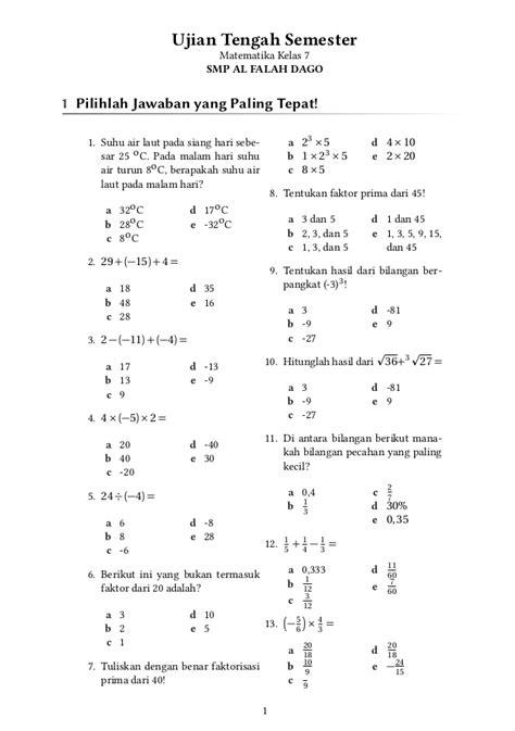 Matematika Kls Vii Semester Ii K13n uts matematika kelas 7 smp al falah dago