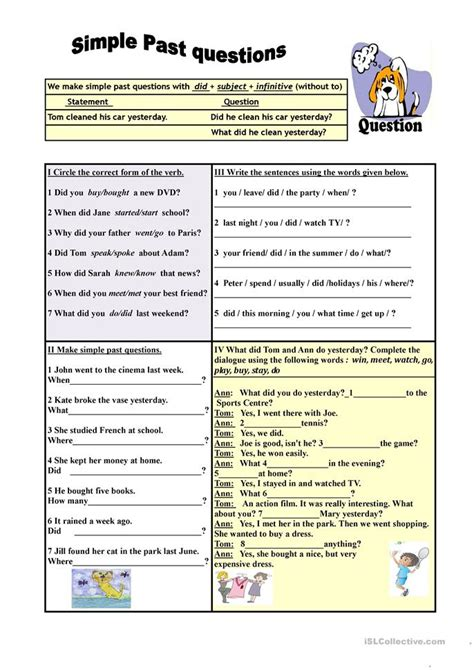 past tense questions worksheet simple past questions exercises worksheet free esl printable worksheets made by teachers