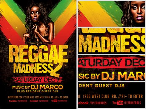 template flyer reggae reggae madness flyer template flyerheroes