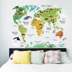 wall mural decals for kids aliexpress com buy colorful animal world map wall