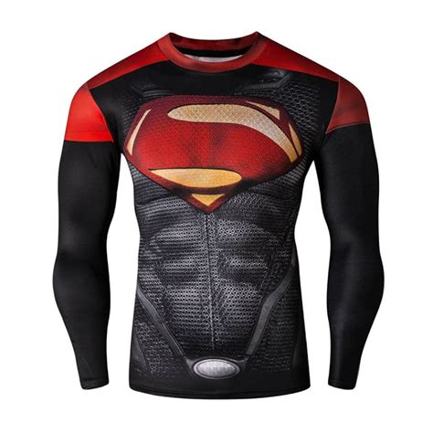 Superman Gold Longsleeve superman style c compression shirt top sleeve tight for outdoor sports ebay