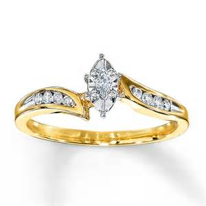 Kay diamond engagement ring 1 8 carat marquise cut 10k yellow gold