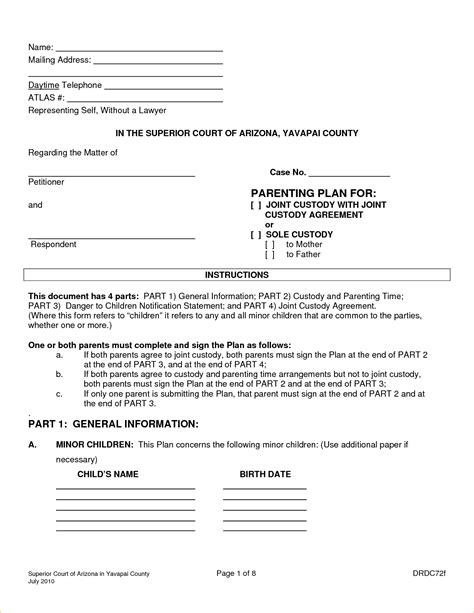 Agreement Joint Custody Agreement Form Custody Parenting Plan Template