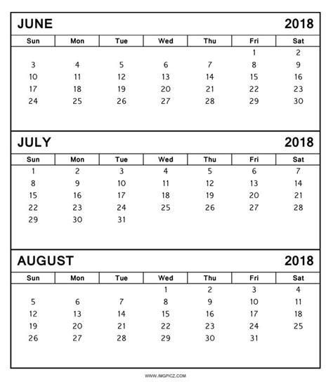 printable calendar june july 2018 3 month calendar 2018 june july august larissanaestrada com