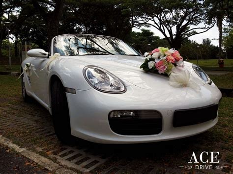 white porsche boxster convertible porsche boxster convertible wedding car decorations