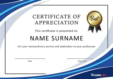 sample certificate of appreciation word achievement award
