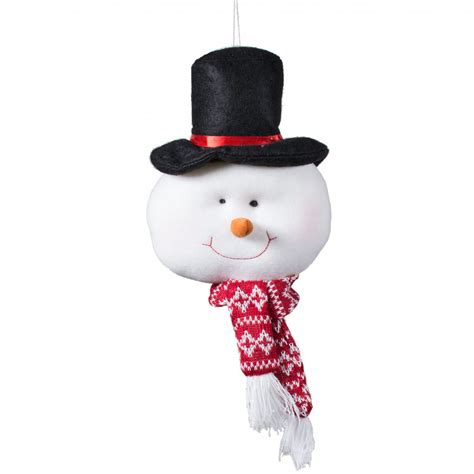 8 quot plush snowman face ornament 81983a craftoutlet com