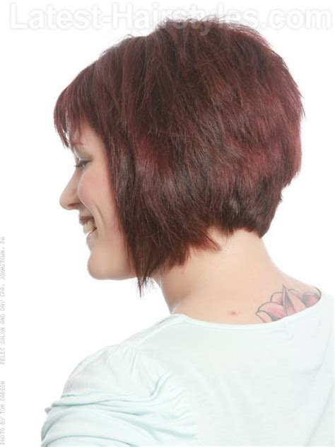 edgy hair styles for older women edgy bob short brunette style with red highlights back