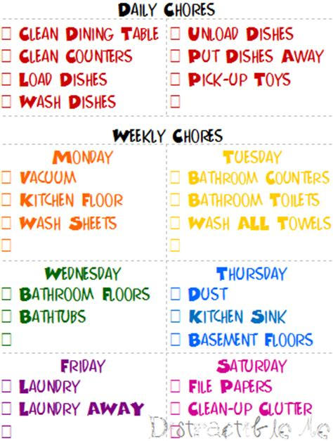 bedroom chore list my cleaning schedule distractible me