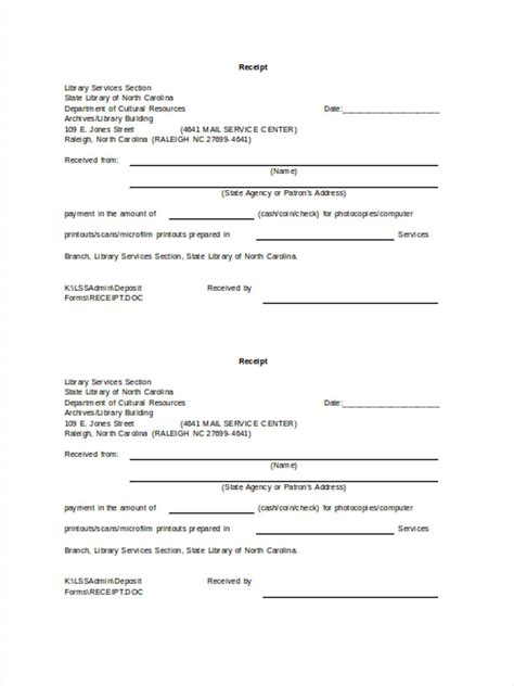 6 service receipt forms free sles exles format