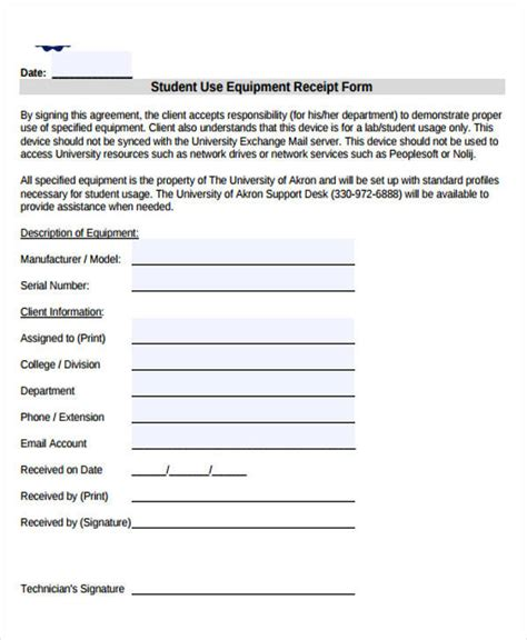 Equipment Receipt Template by 39 Sle Receipt Forms Sle Templates