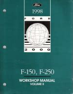 1998 ford f150 f250 factory workshop manual 2 volume set