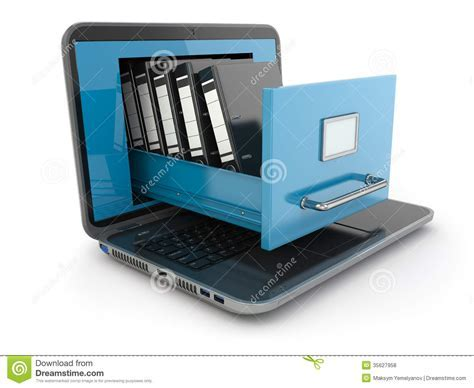 Data Storage. Laptop And File Cabinet With Ring Binders