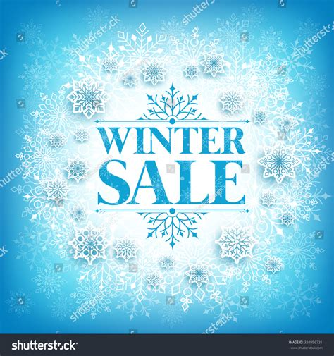 winter sale text white space snow stock vector 334956731