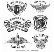 Set Vintage Monochrome Car Repair Service Stock