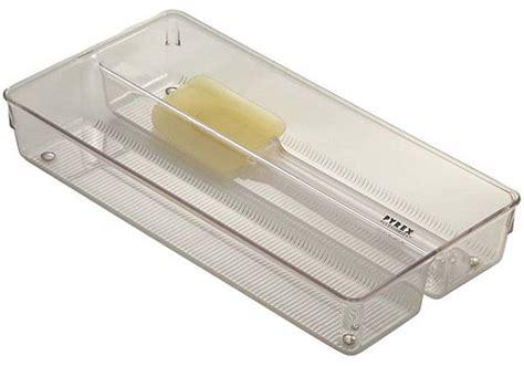 clear plastic drawer organizer in kitchen drawer