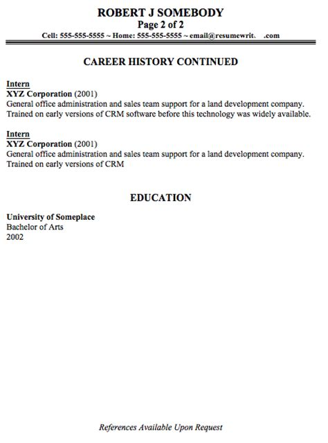 resumé sle resume page 2 catering resume executive resume sles