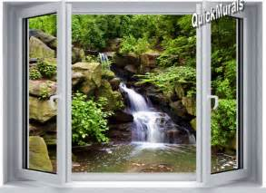 Peelable Wall Murals Mountain Waterfall Window One Piece Peel Amp Stick Canvas